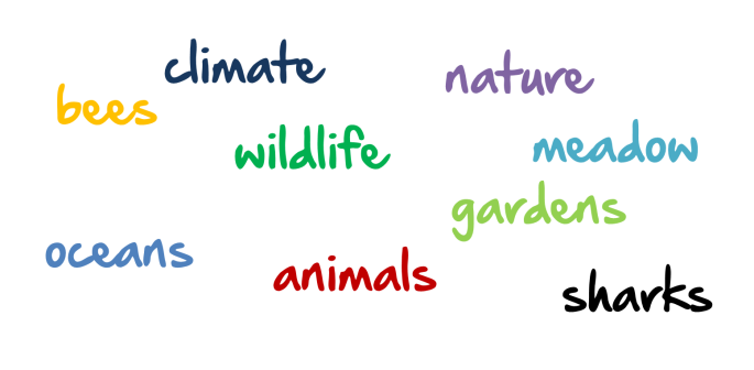 Nature words: climate, nature, bees, wildlife, meadow, gardens, oceans, animals, sharks